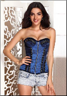 Embroidered Brocade and Velvet Underwire Zip Front Corset