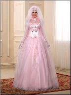 Affordable Beaded Satin Long Sleeve Muslim A-Line Wedding Dress with Hijab