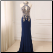 Affordable Halter Floor Length Chiffon Gown - shown in Navy