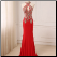 Affordable Halter Floor Length Chiffon Gown shown in Red