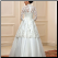 Affordable Lace over Tulle Muslim A-Line Wedding Dress, back of gown