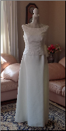 Ivory Alfred Angelo Gown with Scoop Neck and Beading in stock size 8