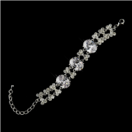 Silver CZ Crystal and Rhinestone Bridal Bracelet