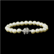 Glass Pearl Pave Ball Bridal Bracelet