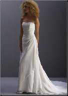 Bateau Neckline Chiffon Wedding Dress