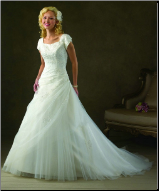Beautiful Short Sleeved Satin and Tulle Wedding Dress