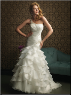 Charming One-Shoulder Satin and Organza Mermaid Gown
