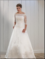 Charming Satin and Lace Bridal Gown