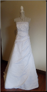 Charming Strapless Crystal and Pearl Beaded Satin Gown in stock - size 16