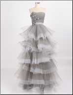 Charming Tiered Skirt Organza Strapless Gown