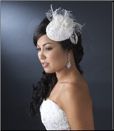 Chic Bridal Hat with Feathers and Crystals