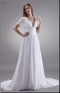 Chiffon Bridal Gown with Cape Sleeves