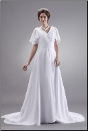 Chiffon Bridal Gown with V-Neck and Cape Sleeves