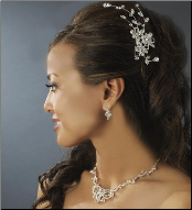 Silver Floral Bridal Comb with Rhinestones
