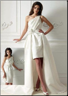 Convertible One-Shoulder Satin Wedding Dress