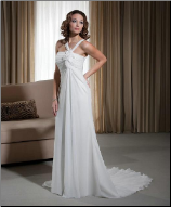 Dainty Neckline Chiffon Beach Wedding Dress