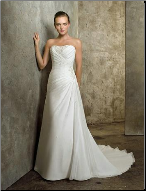Dainty Strapless Chiffon over Satin Wedding Gown