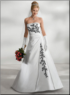 Dramatic Embroidered Black on White Satin Bridal Gown