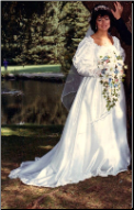 Elegant Snow White Satin Bridal Gown in stock size 14