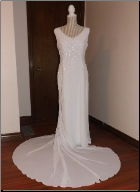 Elegant Embroidered Chiffon Informal Wedding Gown in stock size 16