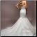 Elegant Mermaid Style Strapless Lace Gown showing back of gown