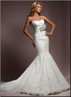 Elegant Mermaid Style Strapless Lace Gown