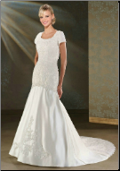 Elegant Satin and Beaded Lace Gown