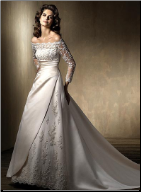 Elegant Satin and Lace Wedding Gown