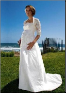 Elegant Taffeta Bridal Maternity Gown with Lace Jacket