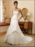 Elegant Taffeta Strapless A-Line Wedding Gown