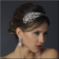 Ellie Antique Silver Crystal Feather Bridal Headpiece