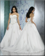 Embroidered Satin Princess Ball Gown