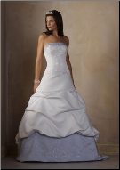 Embroidered Satin Wedding Ball Gown