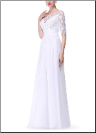 Empire Line Chiffon Wedding Gown with Lace Sleeves