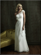 Empire Line One-Shoulder Chiffon Bridal Gown