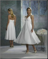 Empire Line Tea Length Wedding Dress