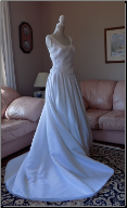 Fabulous Formals White Wedding Gown with beaded bodice size 8