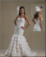 Charming Strapless Satin and Organza Mermaid Gown