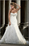 Glamorous Strapless Satin and Tulle Wedding Gown