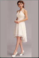 Halter Neckline Chiffon Asymmetrical Short Beach Wedding Dress