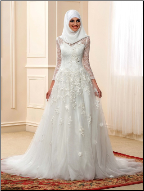 High Neckline Long Sleeve Lace Muslim Wedding Dress with Hijab
