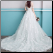 Illusion Bodice Organza Wedding Dress with Short Sleeves showing back of gown