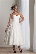 Lace over Satin Tea Length Wedding Dress