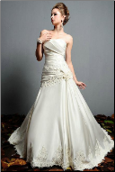 Luxurious Satin and Lace Wedding Gown