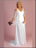 Medieval-look Satin and Organza Maternity Bridal Gown