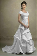 Modest Satin and Lace Wedding Gown