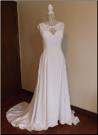 Genuine Mon Cheri Lace and Satin Gown in stock size 8