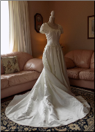 Short Sleeve Morilee Wedding Gown with Train in stock size 8