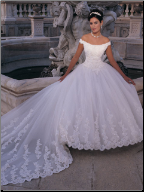Off-the-Shoulder Satin and Organza Ball Gown
