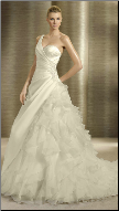 One-Shoulder Satin and Organza Wedding Gown
